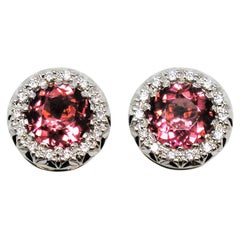 Natural Pink Tourmaline and Diamond Halo Stud Earrings in 18 Karat White Gold