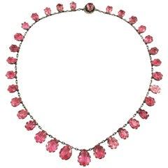 Natural Pink Tourmaline Riviere Necklace Antique