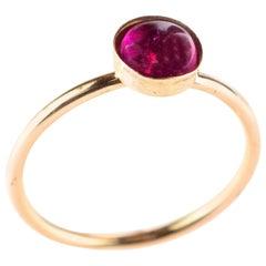 Natural Pink Tourmaline Solitaire Round Cabochon 14 Karat Rose Gold Filled Ring