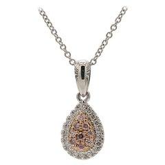 Natural Pink & White Diamond 0.18 Carat Pear Shape Cluster 18K Gold Pendant