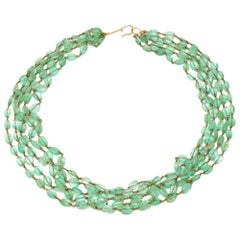 Natural Polished Emerald Beads Necklace Wired in 18 Karat Yellow Gold