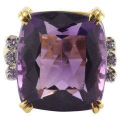 Natural Purple Amethyst and Diamond Cocktail Ring