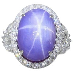 Natural Purple Star Sapphire 20.70 Carat and Diamond Ring, Very Strong Star