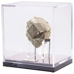 Natural Pyrite Cube from Spain in Acrylic Box