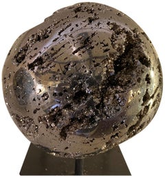 Natural Pyrite Sphere with Iron Stand