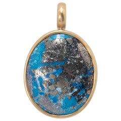 Natural Pyrited Persian Turquoise Pendant in 18 Karat Gold