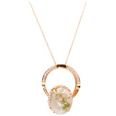 Natural Quartz Crystal and Diamond Ring / Pendant, Double Use, Work of Art