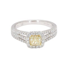 Natural Radiant Cut Yellow & White Diamond Ring 0.95 Carats Total 18k Gold