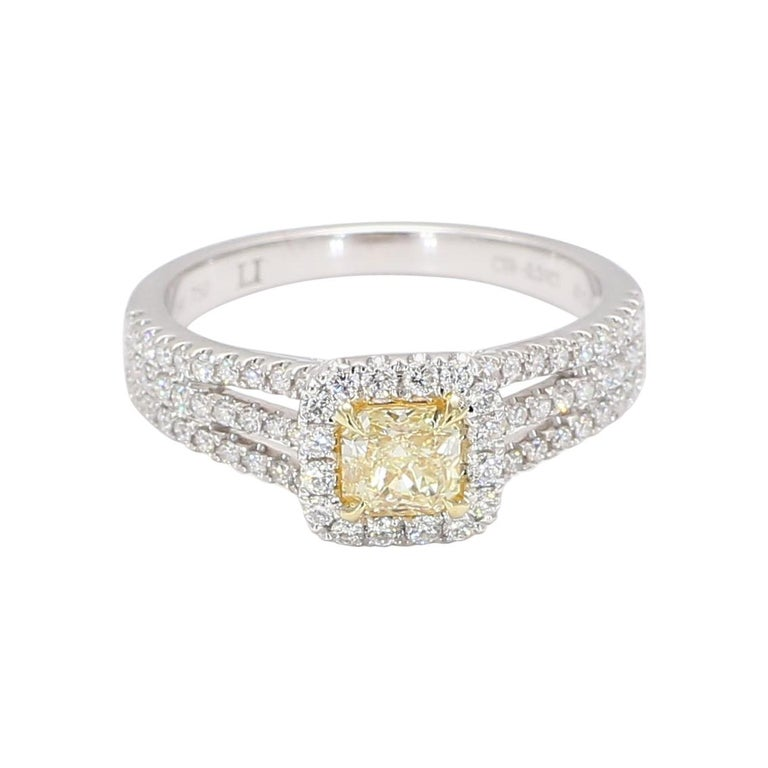Natural Radiant Cut Yellow & White Diamond Ring 0.95 Carats Total 18k Gold For Sale