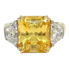 Natural Radiant Yellow Sapphire and Trapezoid Diamond Platinum 18KY Ring 8.16CT