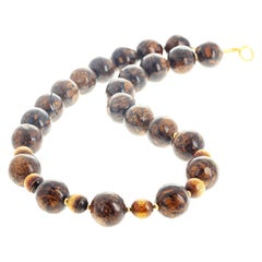 Natural Rare Bronzite and Rare Coral Necklace with Vermeil Clasp