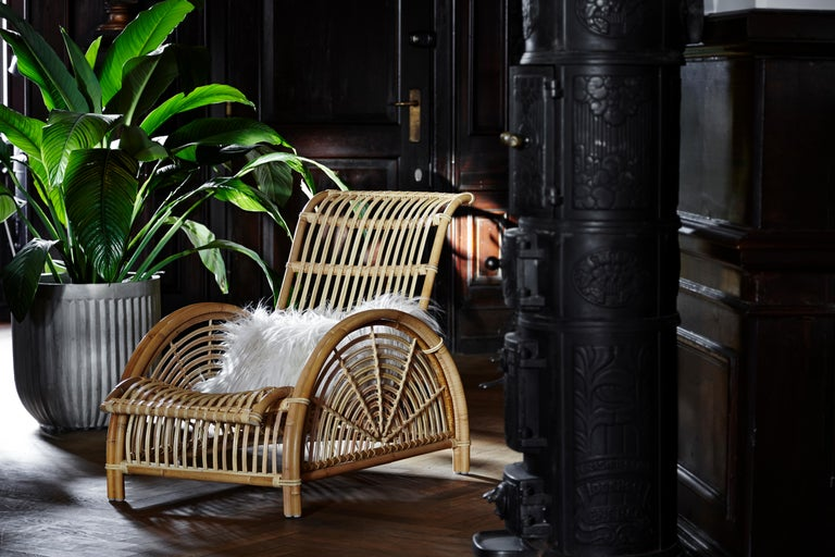 Woven Natural Rattan Arne Jacobsen Indoor Paris Lounge Chair by Sika Design For Sale
