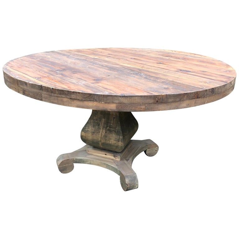 Natural Reclaimed Wood Large Round Pedestal Table For Sale