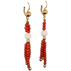 Natural Red and Natural White Coral Beads Drop Earrings Estate Fine Jewelry