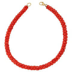 Natural Red Coral 925 Golden Silver Woven Tube Round Beaded Necklace