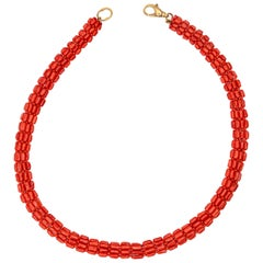 Natural Red Coral 925 Golden Silver Woven Art Deco Tube Round Beaded Necklace