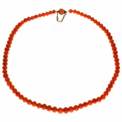 Natural Red Coral Bead Necklace