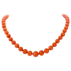 Natural Red Coral Bead Strand 18 Karat Gold Necklace