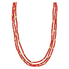 17-Inxh Triple Strand Natural Red Coral Bead Necklace, 18k and 22k Yellow Gold