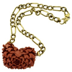 Natural Red Coral Large Flower Pendant on Yellow Gold Figaro Chain