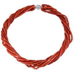 Natural Red Coral Multi-Strand Necklace