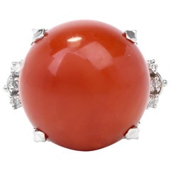 Natural Red Coral Platinum Diamond Ring