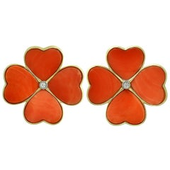 Natural Red Coral Yellow Gold Large 4-Leaf Clover Flower Earrings