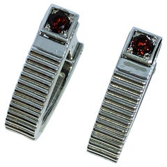 Natural Red Garnet Brilliant Cut Stirrup Shaped Sterling Silver Cufflinks