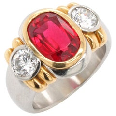 Natural Red Spinel and Diamond Ring