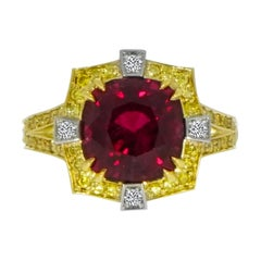 Natural Red Spinel, Diamond and Diamond Yellow Gold Ring