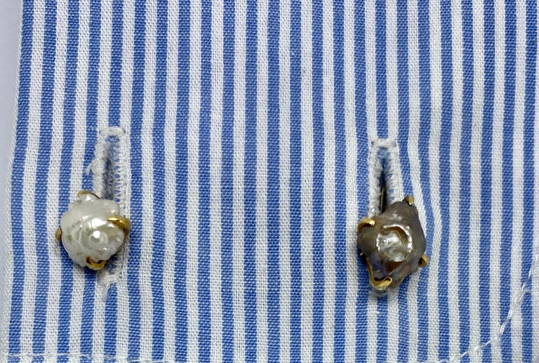Art Nouveau Natural River Pearl Cufflinks by Tiffany & Co. For Sale