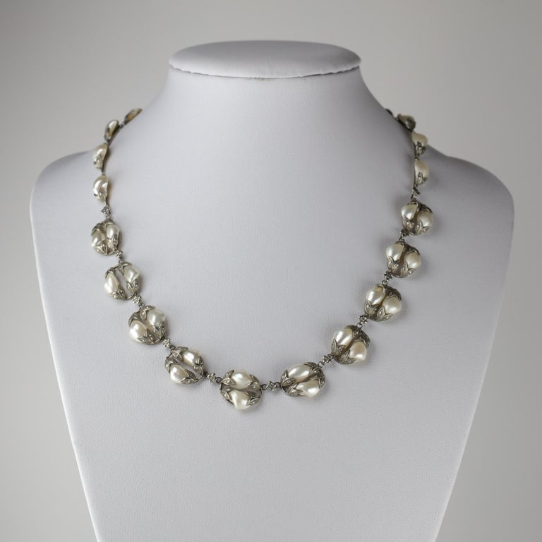 Natural River Pearl Necklace is Art Nouveau Jewel In Excellent Condition For Sale In Southbury, CT