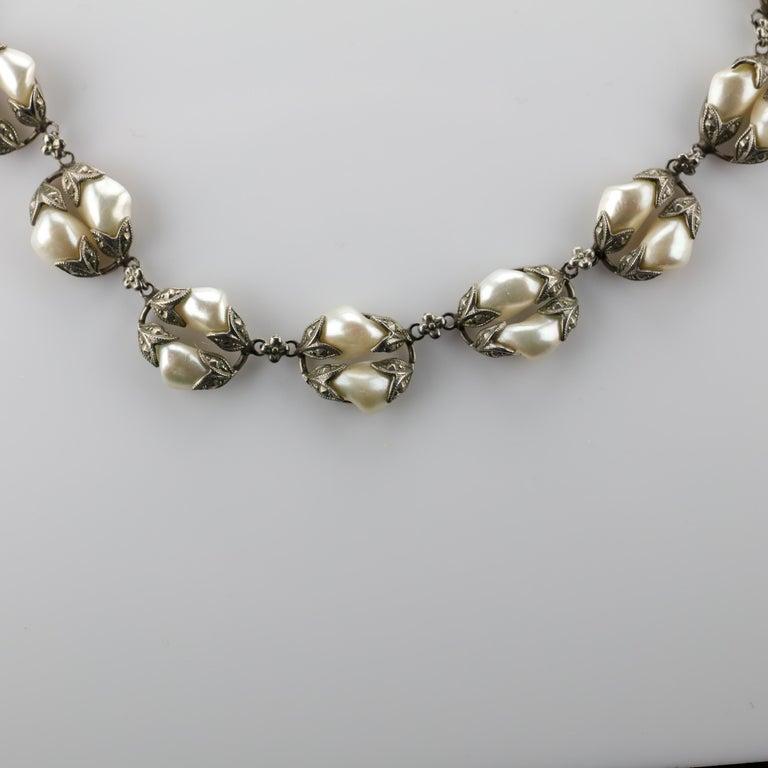 Women's Natural River Pearl Necklace is Art Nouveau Jewel For Sale