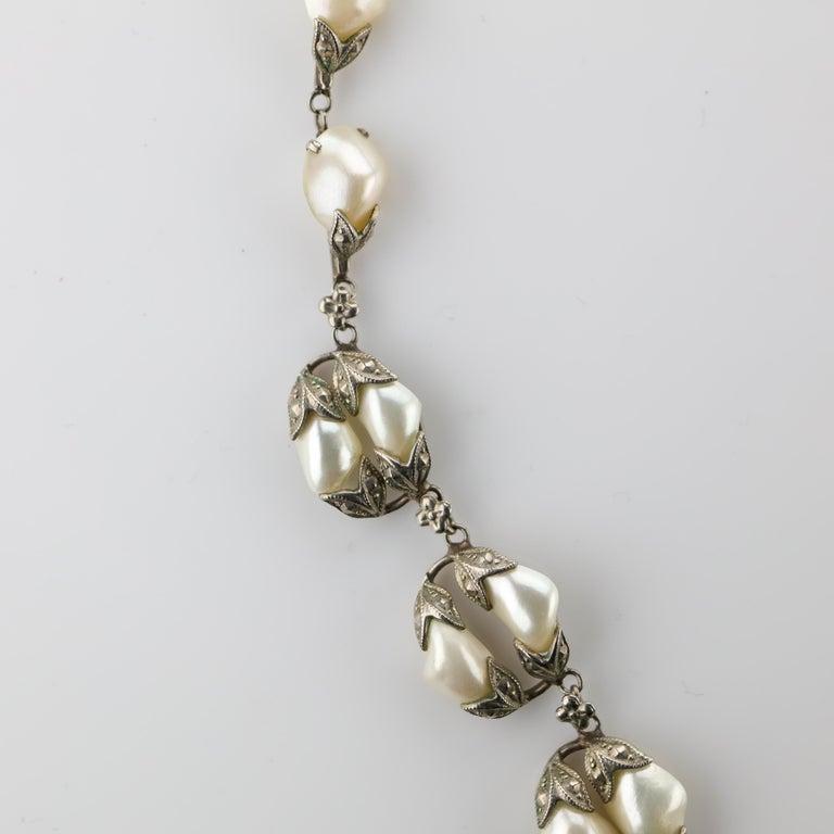 Natural River Pearl Necklace is Art Nouveau Jewel For Sale 4