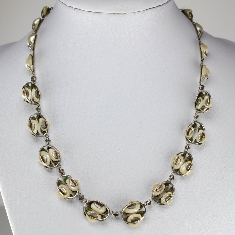 Natural River Pearl Necklace is Art Nouveau Jewel For Sale 5