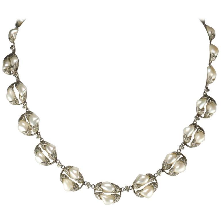 Natural River Pearl Necklace is Art Nouveau Jewel For Sale