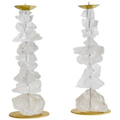 Natural Rock Crystal Candle Holders by Phoenix