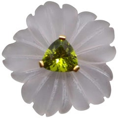 Natural Rock Crystal Flower Trillion Cut Peridot Solid 14kt Gold Fashion Ring