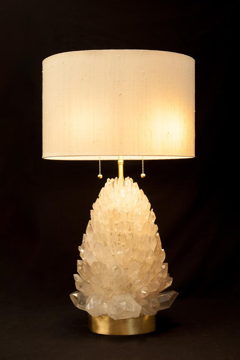 Organic Modern Natural Rock Crystal Table Lamp, Signed by Demian Quincke For Sale