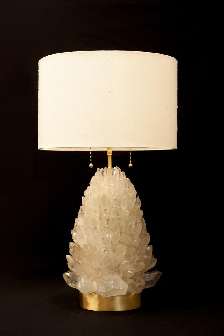 Brazilian Natural Rock Crystal Table Lamp, Signed by Demian Quincke For Sale
