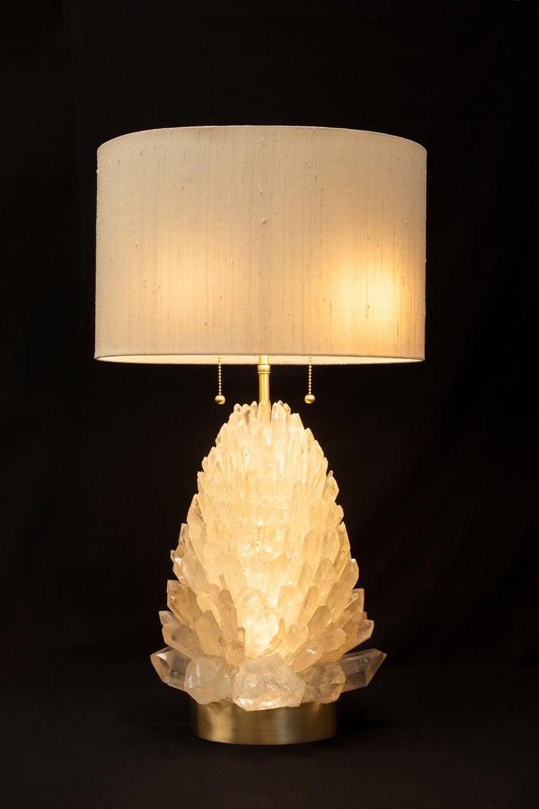 Natural Rock Crystal Table Lamp, Signed by Demian Quincke In New Condition For Sale In Collonge Bellerive, Geneve, CH