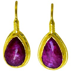 Natural Rose Cut Ruby and 23 Karat Gold Earrings
