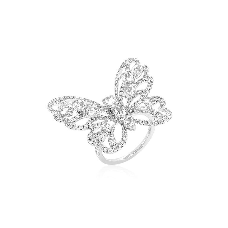 Natural Rose Cut White Diamond in 18K White Gold Cocktail Ring In New Condition For Sale In Hong Kong, HK