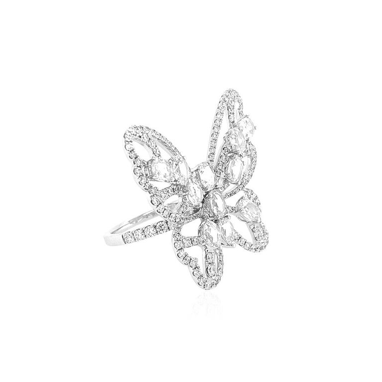 Women's Natural Rose Cut White Diamond in 18K White Gold Cocktail Ring For Sale