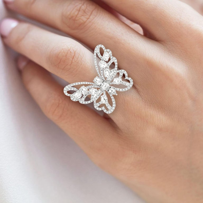 Natural Rose Cut White Diamond in 18K White Gold Cocktail Ring For Sale 1