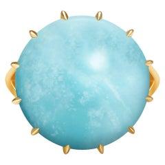 Natural Round Blue Turquoise 18 Carat Yellow Gold 14 Karat Ring