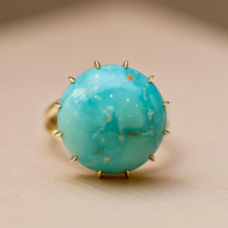 Gold ring with natural turquoise - an elegant