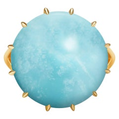 Natural Round Blue Turquoise 18 Carat Yellow Gold Ring
