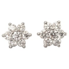 Natural Round Diamond Flower Earrings .60 Carat