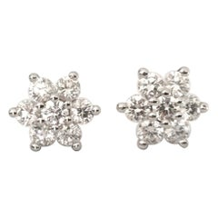 Natural Round Diamond Flower Earrings .60 Carat